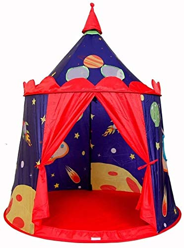 Schattig Play Tent Children's Indoor Play House Cosmic Castle Tent Foldable Cotton Canvas Teepee Fotografie Tipi met draagtas for Meisjes Jongens Babies Kleine (Kleur: blauw rood, Maat: Zoals te zien)