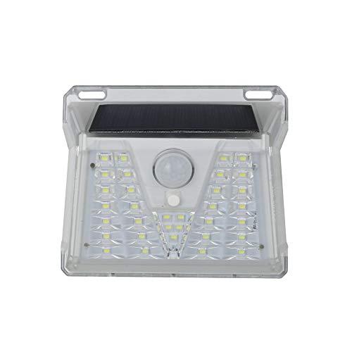 ZDAMN Lámpara solar de pared con lente de 33 LED, distribución de luz, patio, almacén, lámpara de pared, lámpara de inducción, sensor de movimiento (color: blanco, tamaño: 33 LEDS)