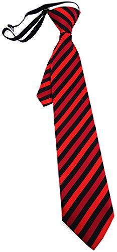 TigerTie Kinderkrawatte rot schwarz gestreift - Krawatte vorgebunden mit Gummizug