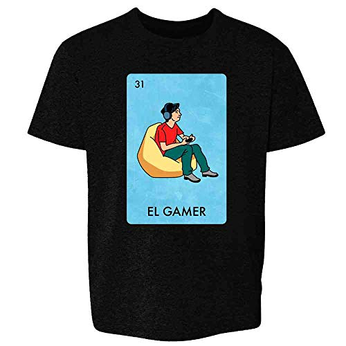 El Gamer Video Games Funny Mexican Lottery Parody Black L Youth Kids Girl Boy T-Shirt