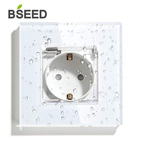 BSEED AC Power Enchufe de Pared con Cubierta Impermeable Tomacorrientes Estándar de la EU Estancos 86mm*86mm Blanco
