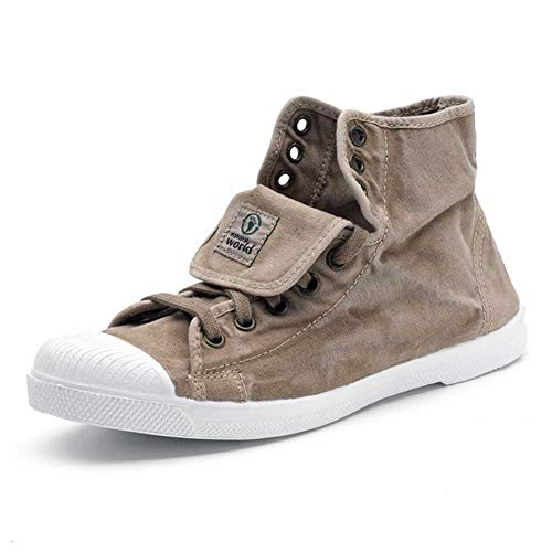 Natural World   107E   Damen   High Top Sneaker   Vegan, Kautschuksohle, Innensohle waschbar, Bio Canvas (BEIGE, 38)