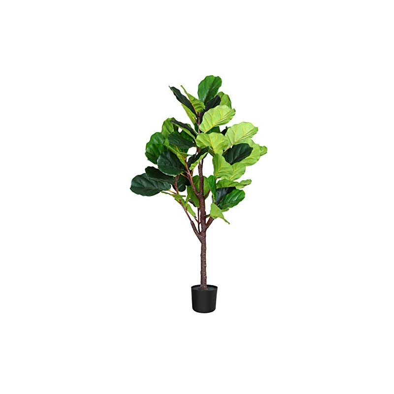 silk flower arrangements fopamtri artificial fiddle leaf fig tree 4.3 feet feaux ficus lyrata plant with 44 leaves faux plant for indoor outdoor fake plants in pot for home office perfect housewarming gift