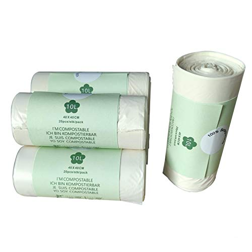 Corn Starch Degradable Garbage Bag, 10L Biodegradable Trash Bags Food Waste Bin Liners Bags