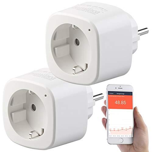 Luminea Home Control Energiekostenmessgerät: 2er-Set WLAN-Steckdosen, Amazon Alexa & Google Assistant komp, 16 A (WiFi Stecker)