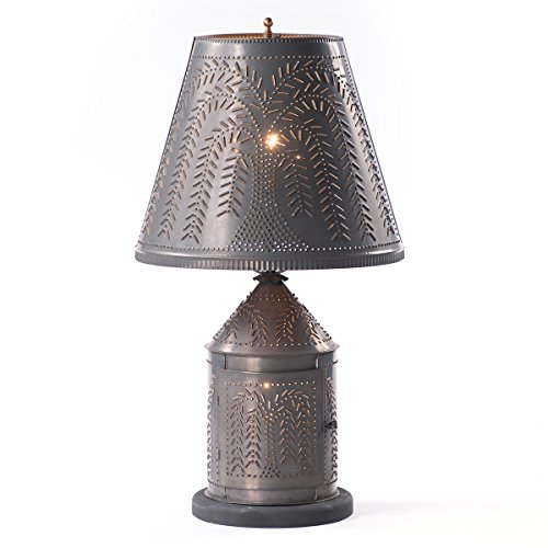 Fireside Lamp with Willow Shade in Blackened Tin