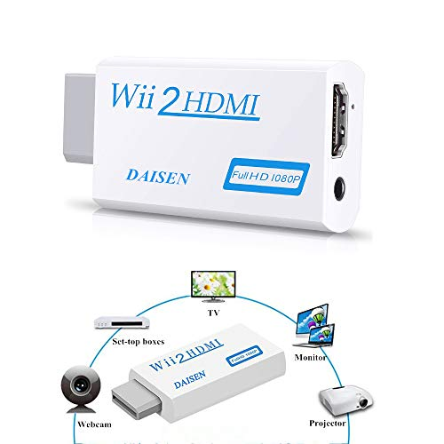 DAISEN Wii to HDMI 720P / 1080P HD Output Upscaling Converter - Supports All Wii Display Modes, HDMI Upscale White