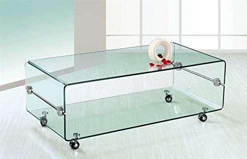 HABITMOBEL Mesa Glass Cristal Curvado, Ruedas, 120x60 cms