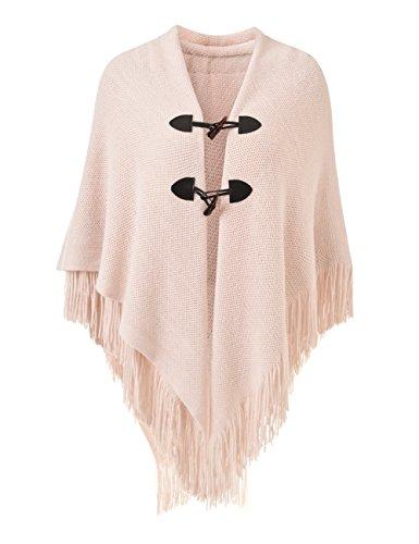 Ferand Poncho-Schal in lässiger Passform mit stylischen Hornknöpfen, V-Ausschnitt und V-Saum für Frauen, Rosa