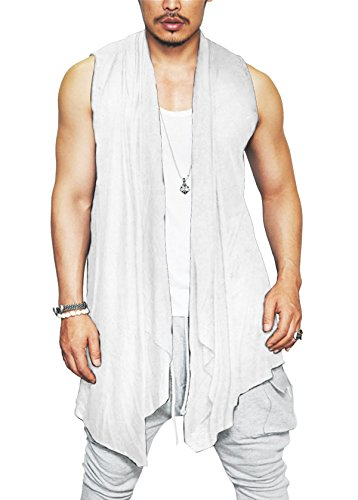 Coofandy Mens Ruffle Shawl Collar Sleeveless Long Cardigan Vest, White, Medium