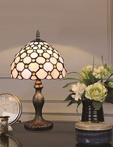 HDO Table lamp Lámpara de Mesa de Noche, lámpara de sobremesa, lámpara de sobremesa, lámpara de sobremesa, Serie Pearl, Blanca, vitral, Blanco