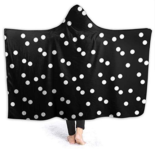 """XXWK Kuscheldecken Überwürfe Decken Hooded Blankets Black White Polka Dots Printed Super Soft Sherpal Plush Wearable Throw Blanket Black 60\""""x50\"""" Inch Lightweight"""