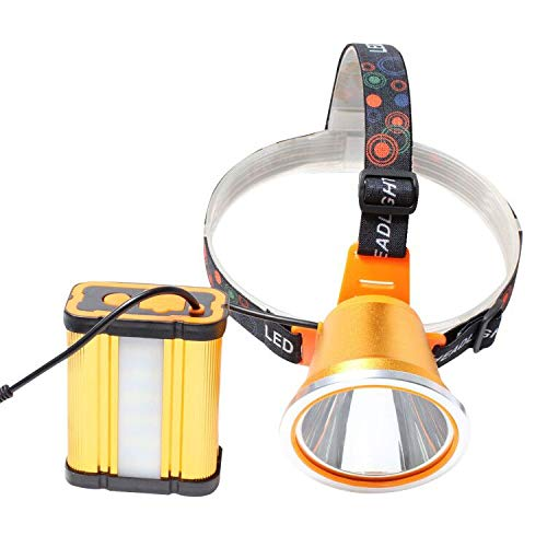 Eornmor 6000 lumens Ultra Bright Portable Rechargeable Headlight Powerful LED Headlamp Flashlight with 3 Light Modes and 15000mAh External Battery Pack for Camping Biking Hunting Fishing