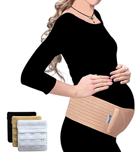 Testsieger - Schwangerschaftsgürtel - Bauchband Schwangerschaft - Schwangerschaftsgurt verstellbar - Bauchstütze atmungsaktiv - Bauchgurt Schwangerschaft - Umstandsmode - mit BH Extender (Braun)