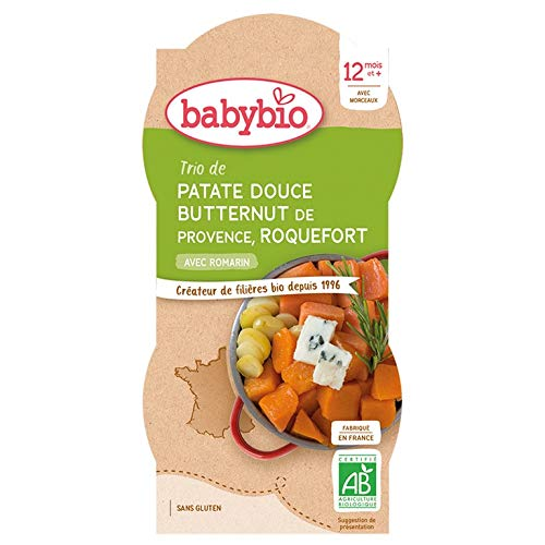 Babybio - Bols Patate Douce Butternut Roquefort 2x200 g - 12+ Mois - BIO - Lot de 2
