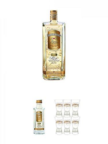Danziger Goldwasser Likör 0,7 Liter + Danziger Goldwasser Likör 5 cl MINIATUR + Der Lachs Danziger Goldwasser Shotglas 2 cl 6 Stück
