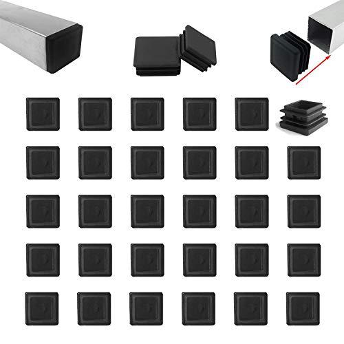 Zaky - Tapones de láminas para tubos cuadrados (25 x 25 mm, plástico), color negro