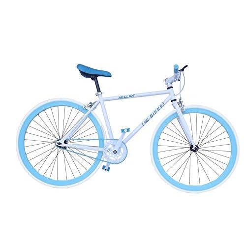 Helliot Bikes Fixie Soho H02 Bicicleta Urbana, Unisex Adulto, Blanco/Azul, Talla Única