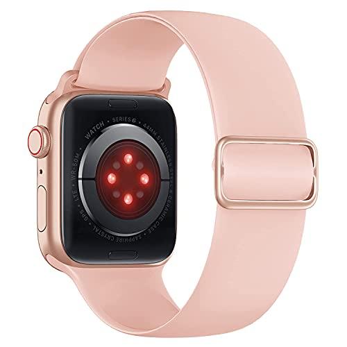 Tasikar Compatible con Correa Apple Watch 40mm 38mm, Pulseras de Repuesto de Silicona Suave, Correas Deportiva Elástica Ajustable Compatible con Apple Watch SE Series 6 5 4 3 2 1 (Rosa)
