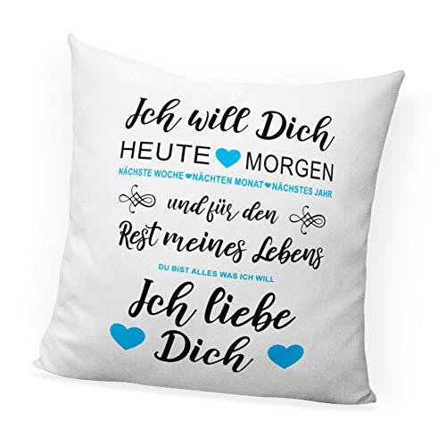 clothinx Ich Will Dich Jeden Tag Ich Liebe Dich - Cojín Decorativo Estampado, Perfecto como Regalo de San Valentín para Parejas