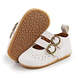 SOFMUO Unisex Baby Girls Boys Mary Jane Flats Shoes Non Slip Rubber Sole Newborn Loafers Toddler Prewalkers Infant Uniform Wedding Princess Dress Crib Shoes(A02/White,12-18 Months)