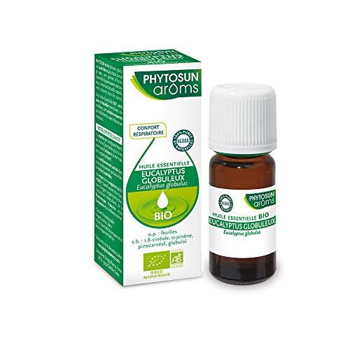 PHYTOSUN arôms – Huile Essentielle Eucalyptus Globuleux BIO – 100% pure et naturelle – Contribue au Confort Respiratoire – 1 x 10 ml