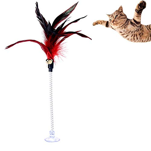 Romancy Vertikale Saugnapf lustige Katze Stick Farbe Feder Katzenspielzeug (zufällige Farbe)
