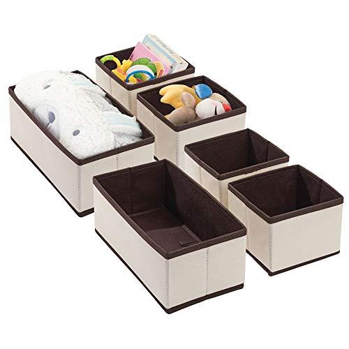mDesign 6er-Set Aufbewahrungsbox – Organizer in 2 Größen fürs Kinderzimmer – Aufbewahrungssystem aus Kunstfaser mit ansprechendem Design – cremefarben/braun
