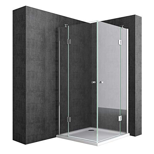 Mai & Mai Mampara de ducha de diseño con doble puerta giratoria 80x80x190cm cabina de ducha de esquina con plato de ducha, vidrio templado transparente con nano revestimiento de fácil limpieza R01K
