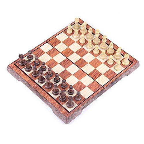 MISS YOU Schach Holz Kunststoff Schach magnetische Schachfiguren tragbare Falten Schachbrett große mittlere kleine Trompete Spiel Ausbildung Schach (Größe : Extra Large (36X31cm))