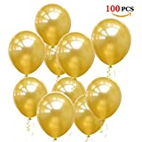 O-Kinee Globos Dorados,100 Piezas Globos Oro, Helio Latex Globos para Cumpleaños, Bodas Aniversario, Bautizos Comunion Baby Shower, Graduacion Fiesta Arco Decoracion