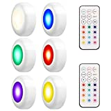 LEDGLE 3W Wireless Armadio Light Efficient Puck Lights Luci notturne RGB Multi-purpose Luci a LED con telecomando, 50lm, IP44 Impermeabile, Angolo a 180 °, Alimentato a batteria, Set di 6