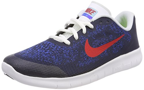 Nike Unisex-Kinder Free RN 2017 (GS) Laufschuhe, Blau (Obsidian/University Red-Racer Blue-Photo Blue 405), 37.5 EU