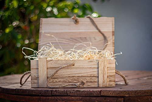 Meinposten Holzkiste mit Deckel Kiste Schatzkiste Schatztruhe Holzkasten Holz braun Truhe mit Deckel (H 15 x B 36 x T 26 cm) - 5