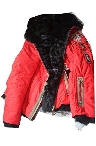 Bogner ISARA-P Wende-Jacke Skijacke Damen Jacke Farbe: Rot/Schwarz - Pelz: Rotfuchs Gr. 36