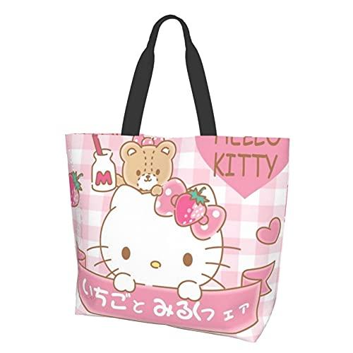 Bolsa de hombro de dibujos animados de Hello Kitty de alta capacidad, ligera y portátil, impermeable y resistente al desgaste, bolsa de almacenamiento