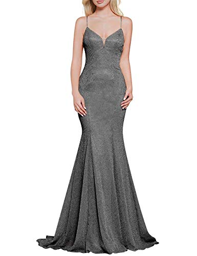 Prom Dress Long Formal Evening Gowns Mermaid Prom Gowns V Neck Evening Dresses Sequin Prom Dresses Grey