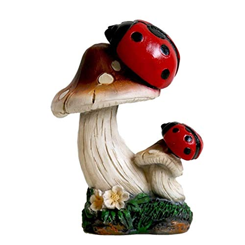 RUIXINLI Garden decorations Mushroom Sculpture Simulation Mushroom Series Outdoor Gardening Lawn Plant Decoration Props (Color : Ladybug)