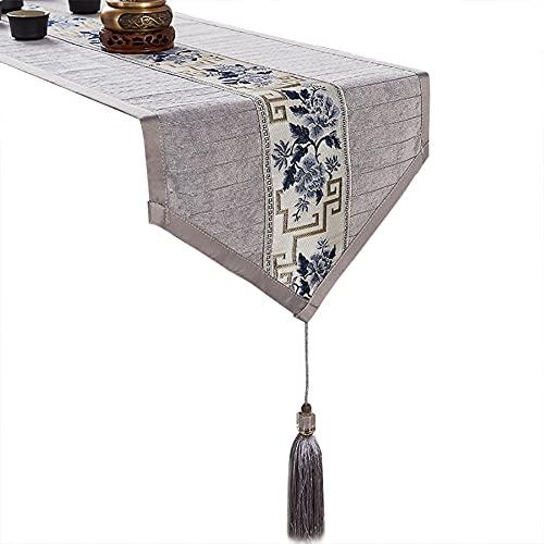 Bordslöpare med tofs | Broderat dekorativt soffbordskåpa | lantgårdstil bord löpare | Kök matbordduk | Classic Dresser Runner-Grå_33x210cm (12.9x82.6in)