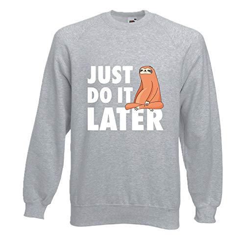 Shirt-Panda Herren Just do it Later Faultier sitzend Sweatshirt Männer Chillen Sloth Hellgrau (Druck Weiß) L