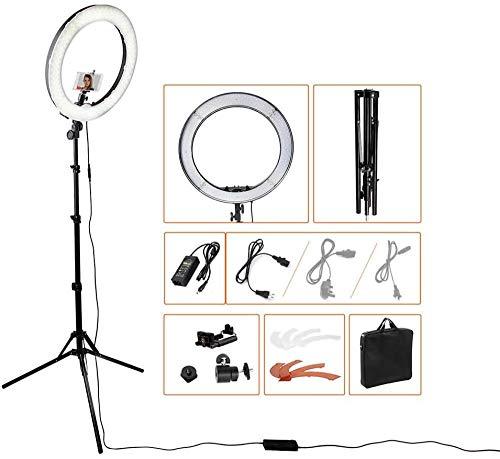 LED-ringverlichting 18 Dimbare Selfie-ringverlichting Make-uplamp met statief Stand Telefoonhouder 3 Lichtmodi en versterker 10 Helderheidsniveaus voor live streaming YouTube-video (upgrade)