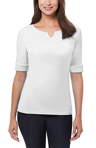 ELLEN TRACY Women's Pima Cotton/Lycra V-Neck Cuff Sleeves T-Shirt (XL, White)