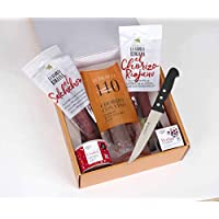 Martínez Somalo - Pack regalo: Chorizo sarta, salchichón sarta extra, chorizo con vino estuchado, confeti de chorizo en grano 85 gramos, perlas de confeti y cuchillo de cocina 3 Claveles de 15,5 cms
