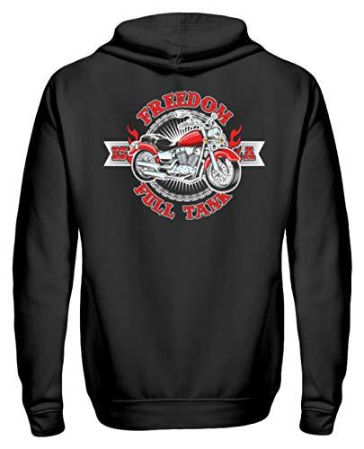 Biker Hoodie Für Motorradfahrer Biker Pullover Freedom is A Full Tank - Unisex Kapuzenpullover Hoodie -L-Jet Schwarz