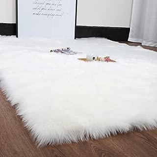 HUAHOO White Faux Sheepskin Area Rug Chair Cover Seat Pad Plain Shaggy Area Rugs for Bedroom Sofa Floor Ivory White (5' x 7' Livingroom Rug)