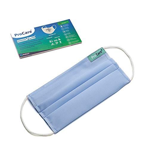 Selbstdesinfizierende Schutzmaske mit hohem Filtrationsschutz, Wasserabweisende Stoffmaske mit Minimum 99 effektiven Verwendungen, feuchtigkeitsregulierend und geruchlos (XS, Blau)