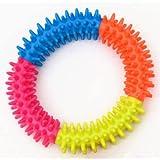 Anillo de espina multicolor de goma TPR, juguete para mascotas, gato y perro, calidad molar, juguete ambiental para gatos y perros Para perros masticadores agresivos Cuidado dental Limpieza de dientes