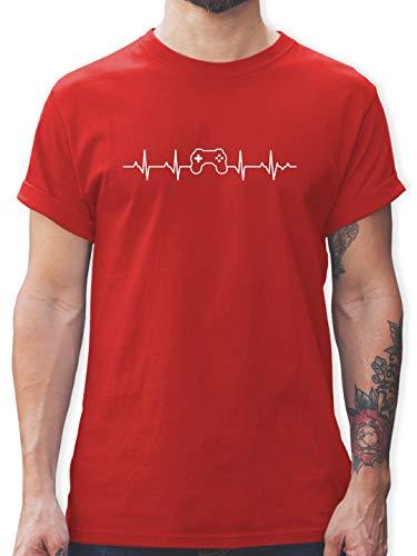 Nerds & Geeks - Herzschlag Gaming Controller - S - Rot - Tshirt Gaming Herren - L190 - Tshirt Herren und Männer T-Shirts