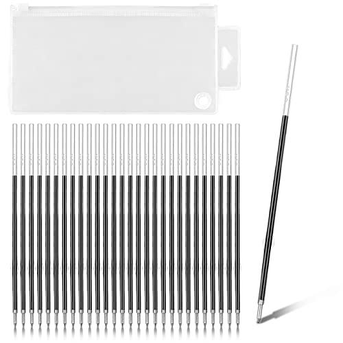 WXJ13 100 PCS Retractable Pen Refills Ballpoint Refills 0.7 mm Medium Point Black with 1 PVC Bag for Replaceable Ballpoint Pen, Retractable Pens