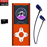 Hotechs. Mp3 Player,Music Player with a 16 GB Memory Card Portable Digital Music Player/Video/Voice Record/FM Radio/E-Book Reader/Photo Viewer/1.8 LCD (Orange-16G-new)